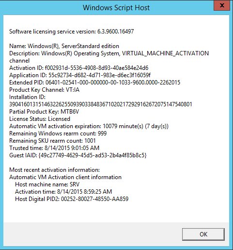 Windows Srv 2012 Standart - VM