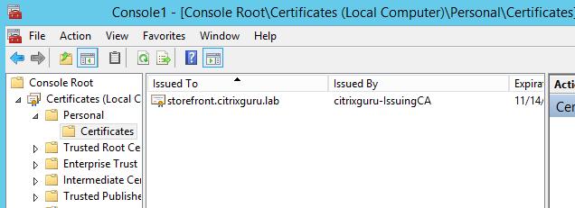 Import Certificate 5 Lab: Part 15 – Configure SSL in StoreFront Lab: Part 15 – Configure SSL in StoreFront CitrixGuru Lab Capture 187 1447571402