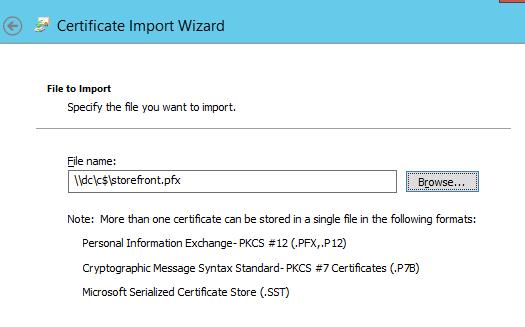 Import Certificate 1 Lab: Part 15 – Configure SSL in StoreFront Lab: Part 15 – Configure SSL in StoreFront CitrixGuru Lab Capture 197 1447572523