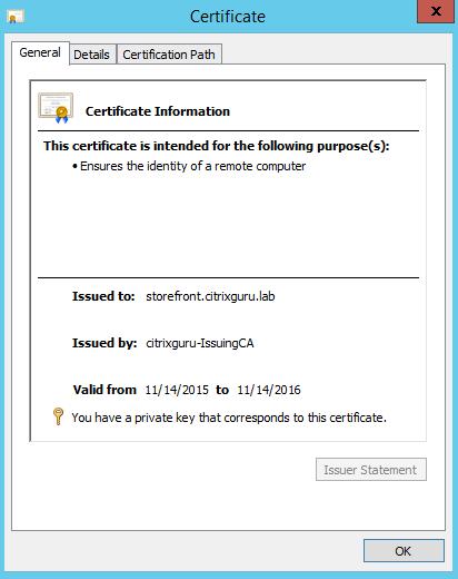Validate certificate import Lab: Part 15 – Configure SSL in StoreFront Lab: Part 15 – Configure SSL in StoreFront CitrixGuru Lab Capture 201 1447572586