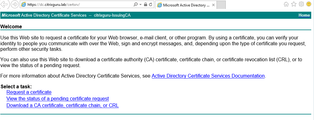 Request new certificate