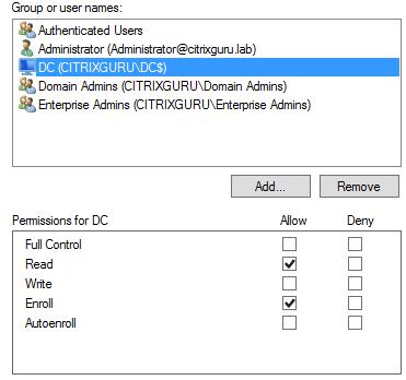 Computer permissions Lab: Part 15 – Configure SSL in StoreFront Lab: Part 15 – Configure SSL in StoreFront CitrixGuru Lab Capture 211 1447625801