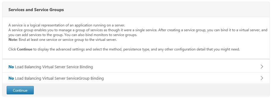 Select No Load Balancing Virtual Server ServiceGroup Binding