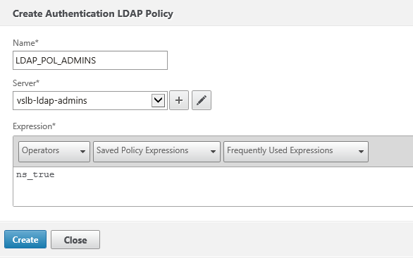 Create ldap policy for admins