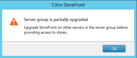 StoreFront servers partially upgraded Citrix StoreFront 3.5 Overview Citrix StoreFront 3.5 Overview CitrixGuru Lab Capture 464 1456627966