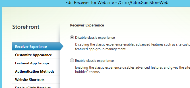 Receiver experience Citrix StoreFront 3.5 Overview Citrix StoreFront 3.5 Overview CitrixGuru Lab Capture 479 1456629489