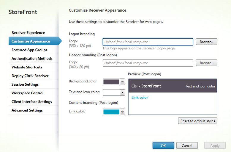 Receiver appearance  Citrix StoreFront 3.5 Overview Citrix StoreFront 3.5 Overview CitrixGuru Lab Capture 480 1456629505