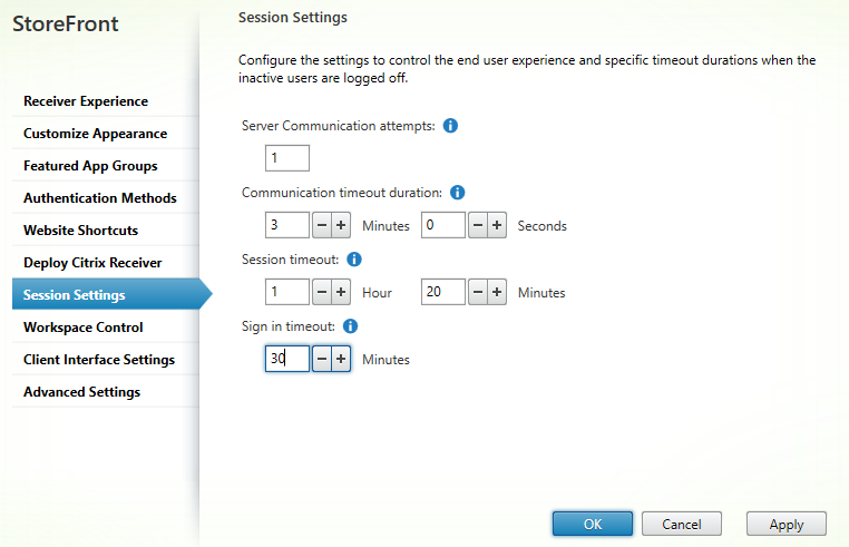 Session settings Citrix StoreFront 3.5 Overview Citrix StoreFront 3.5 Overview CitrixGuru Lab Capture 485 1456629607