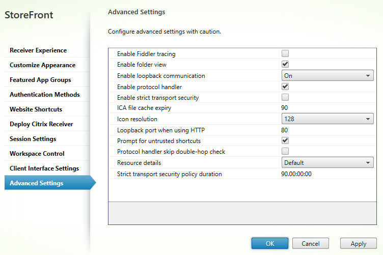 Advanced settings Citrix StoreFront 3.5 Overview Citrix StoreFront 3.5 Overview CitrixGuru Lab Capture 490 1456629688