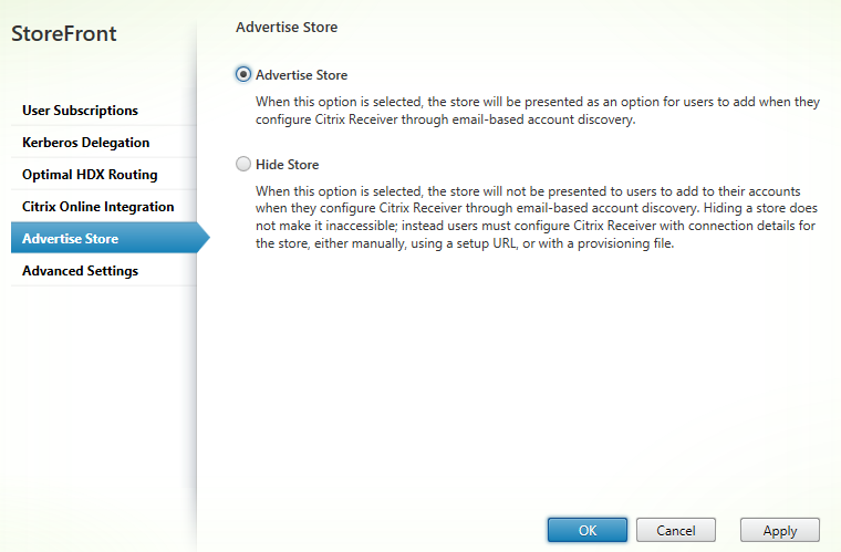Advertise store Citrix StoreFront 3.5 Overview Citrix StoreFront 3.5 Overview CitrixGuru Lab Capture 496 1456629788