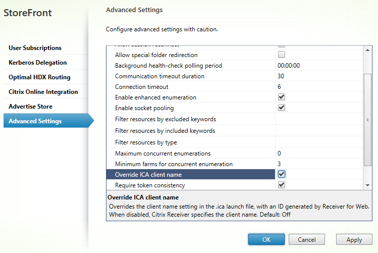 Advanced settings Citrix StoreFront 3.5 Overview Citrix StoreFront 3.5 Overview CitrixGuru Lab Capture 497 1456629836