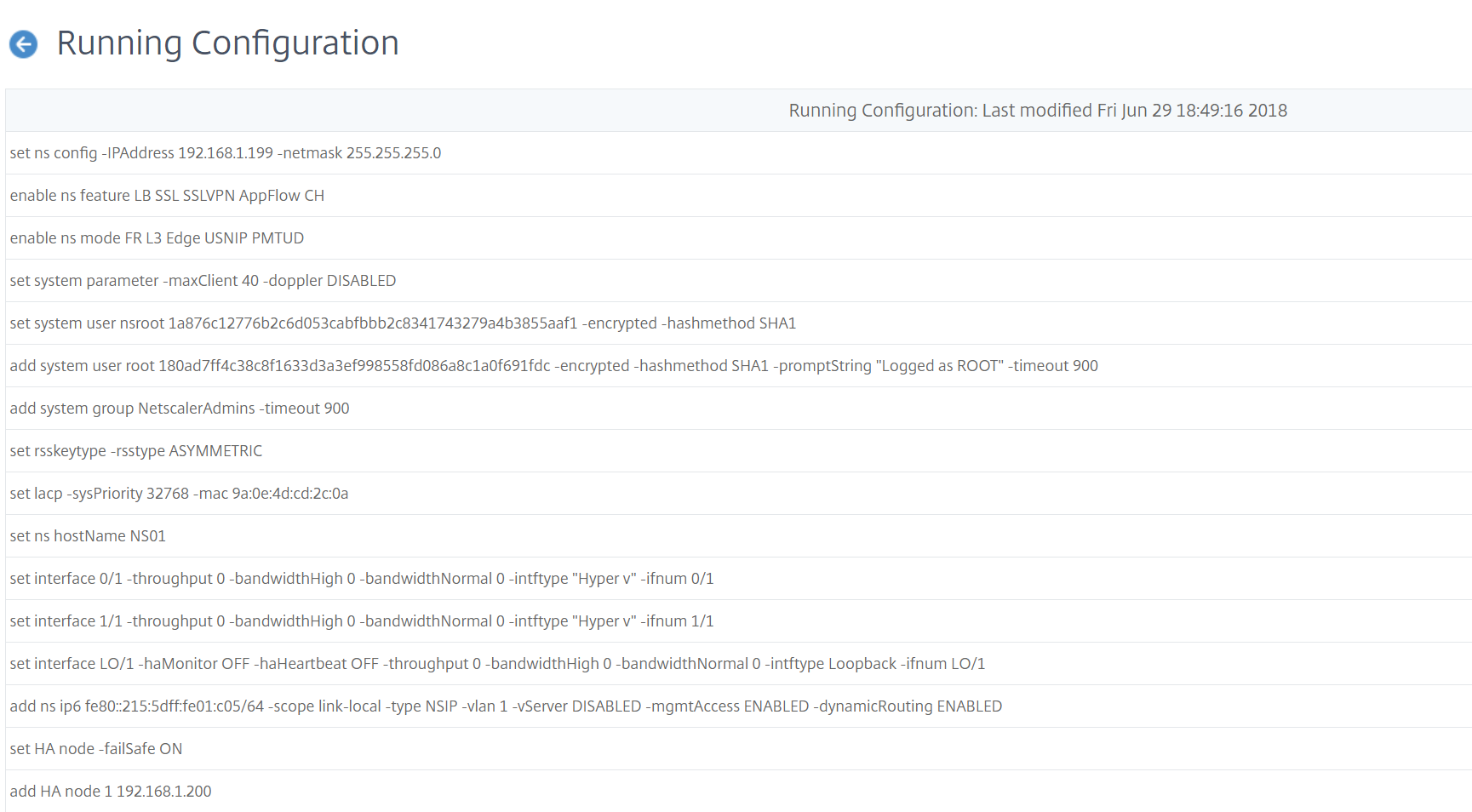 Citrix Management and Analytics Service - Running configuration
