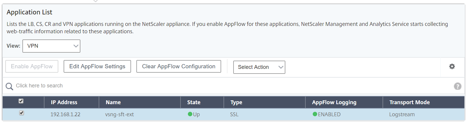 Citrix Management and Analytics Service - Enable APP FLOW