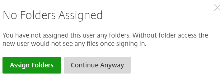 ShareFile - create a new user - folder assignment