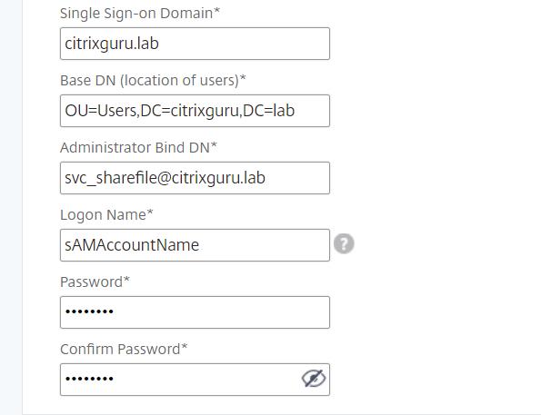 NetScaler for ShareFile - Configure LDAP 2