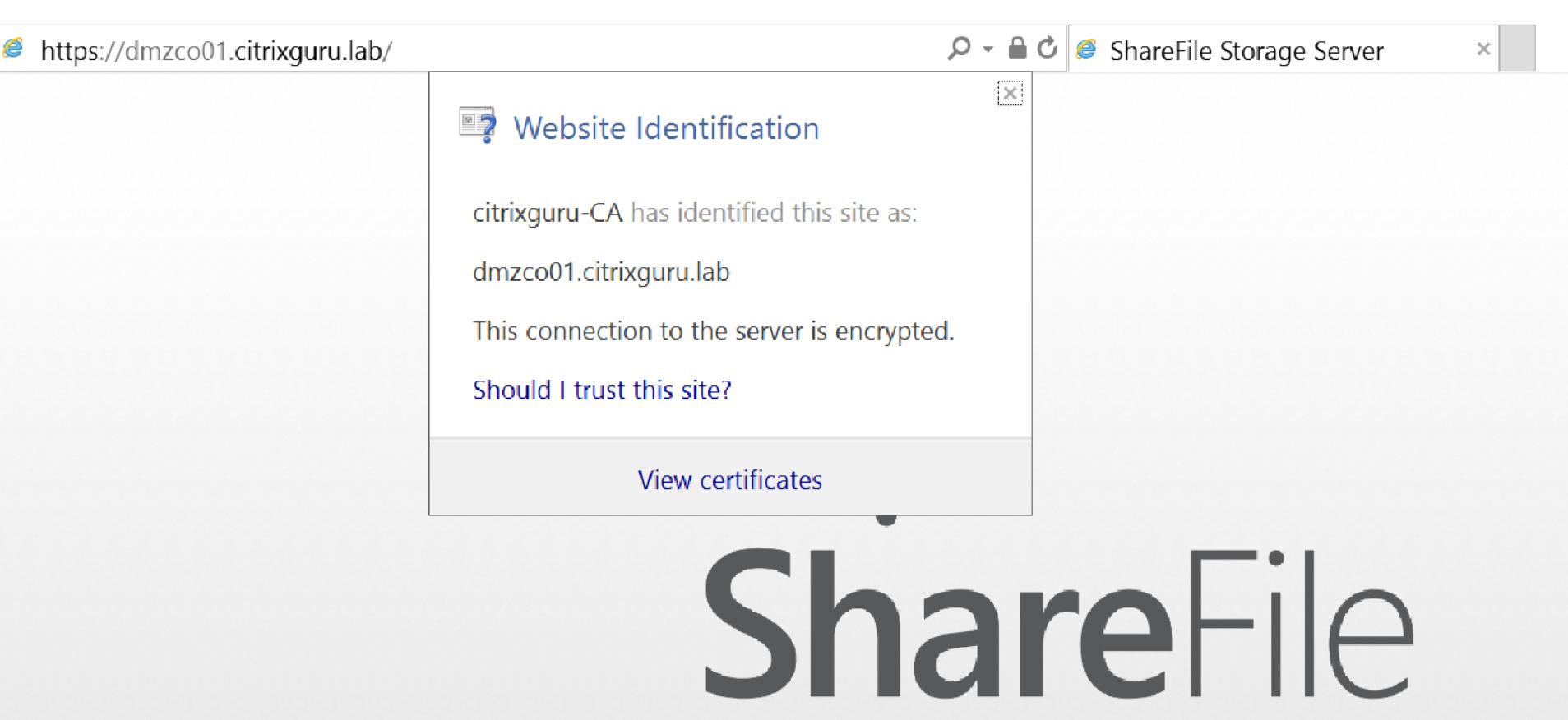 Citrix ShareFile StorageZones Controller - Secured with SSL