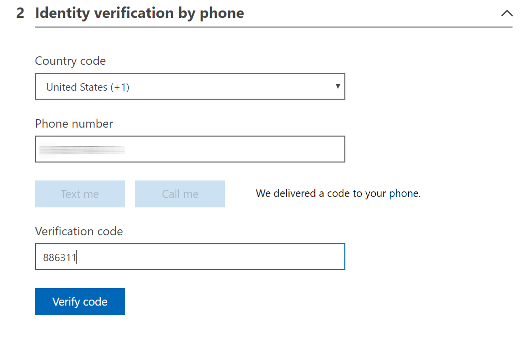 Phone verification 1/2