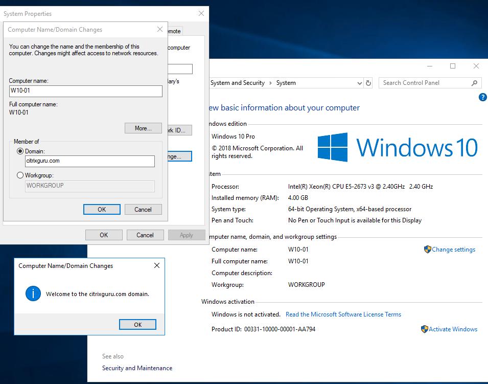 Microsoft Azure - Windows 10 VM added in citrixguru.com domain