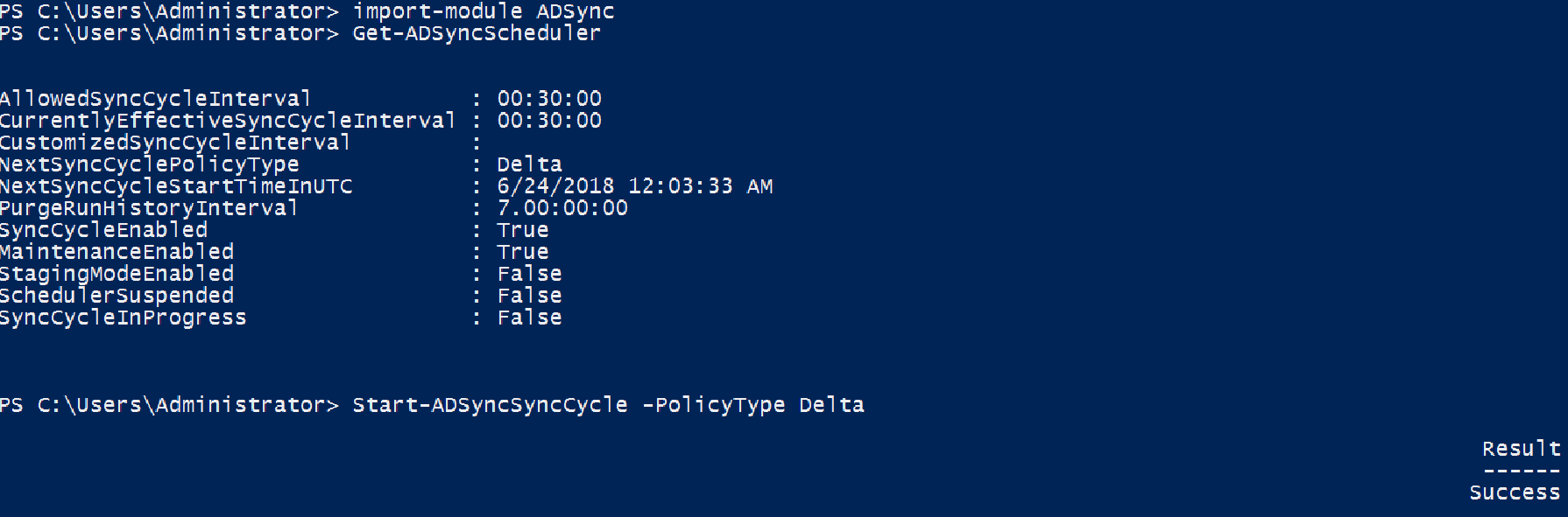 Force Azure AD Sync in PowerShell
