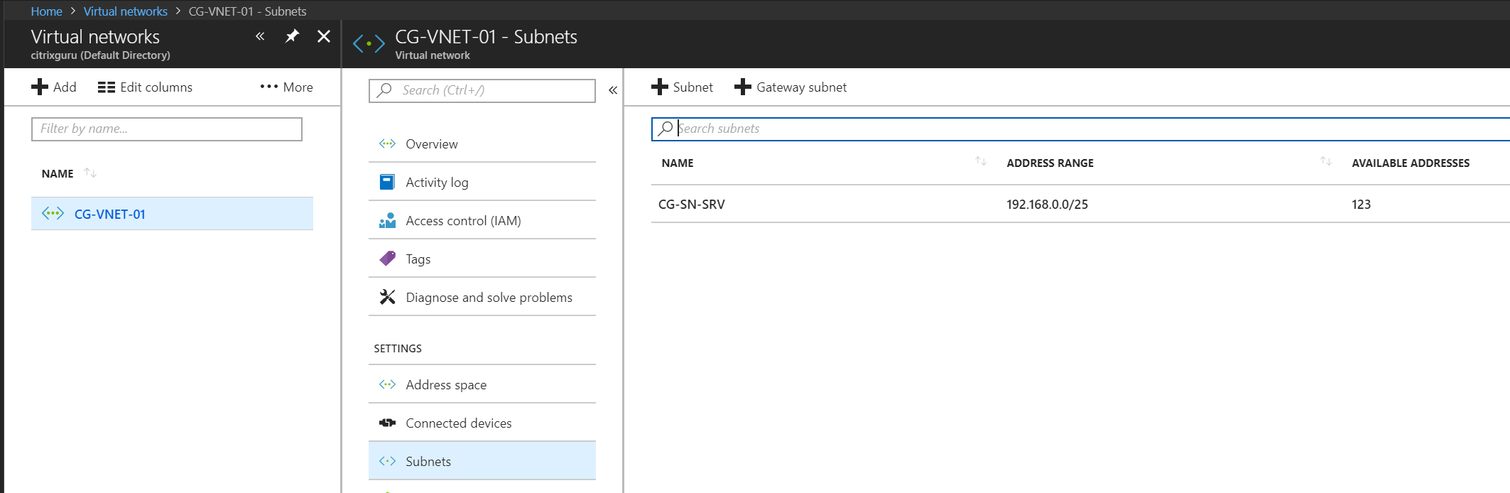 Azure virtual network subnets
