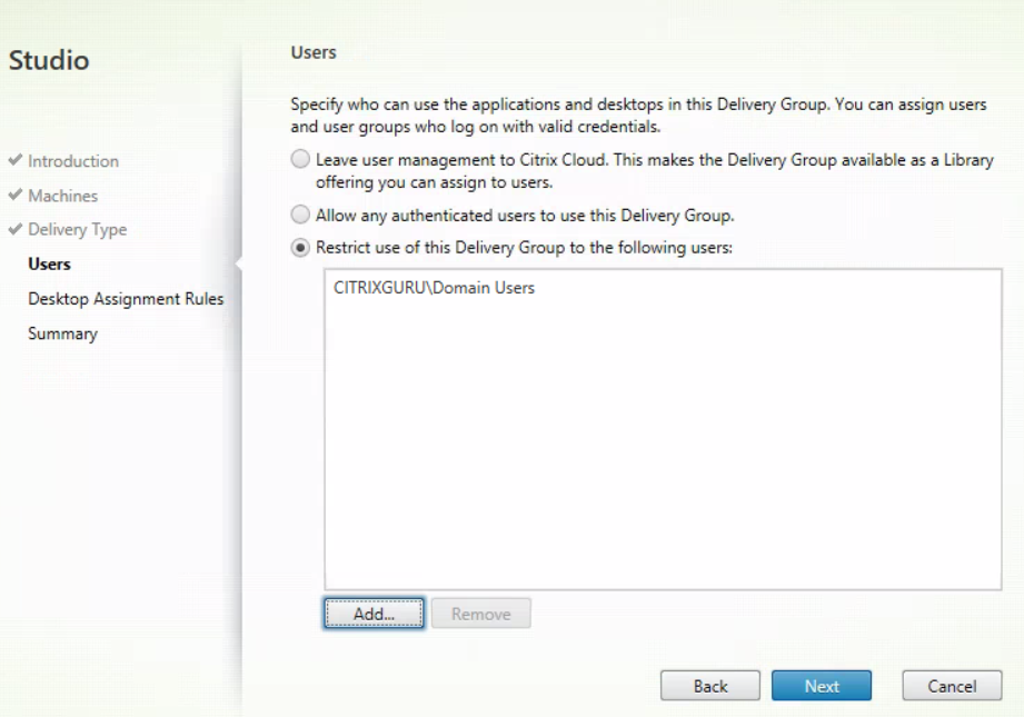 XenApp and XenDesktop Service - Create Delivery Group 4