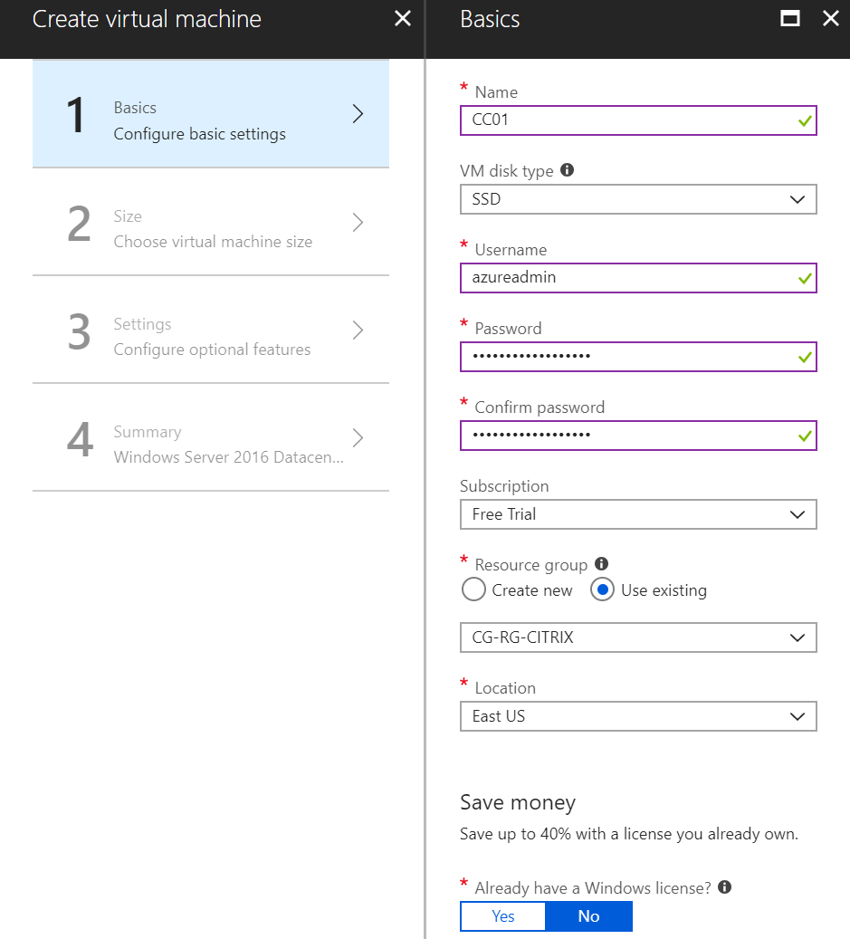Add a new Azure virtual machine