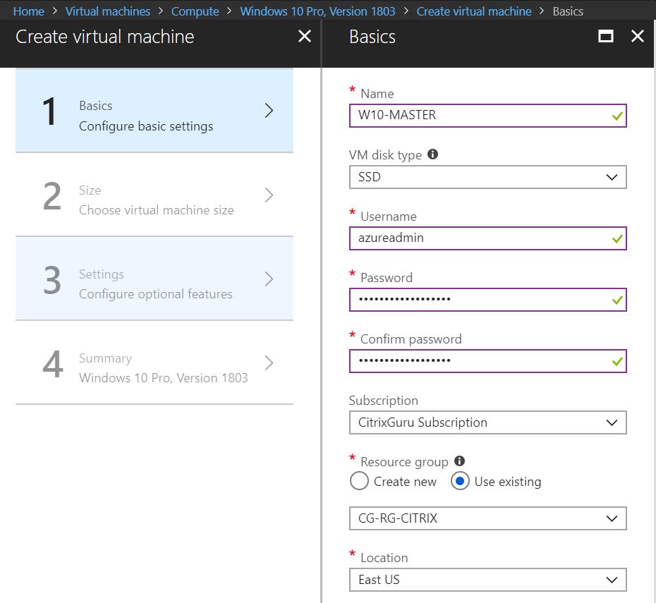 Microsoft Azure - Create Windows 10 VM