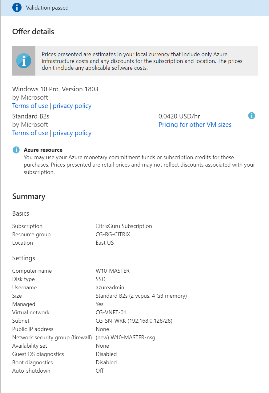 Microsoft Azure - Create Windows 10 VM summary