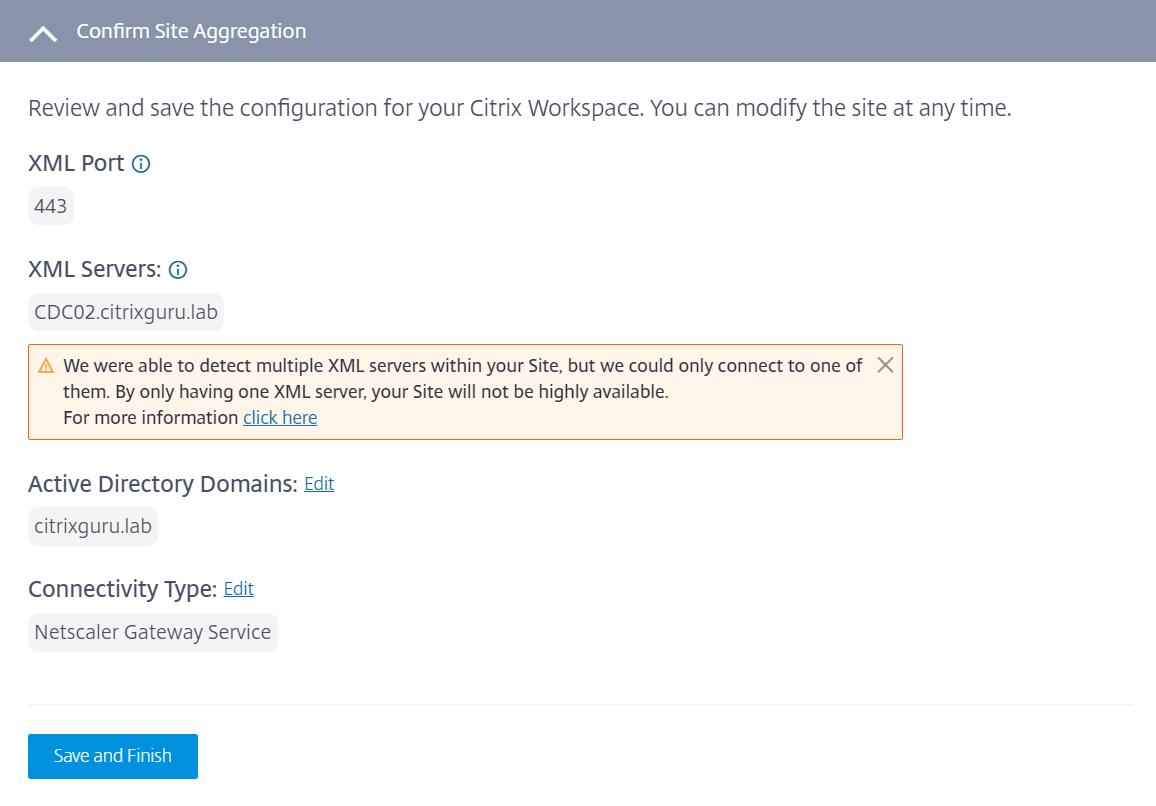 Site Aggregation Tech Preview- Edit configuration
