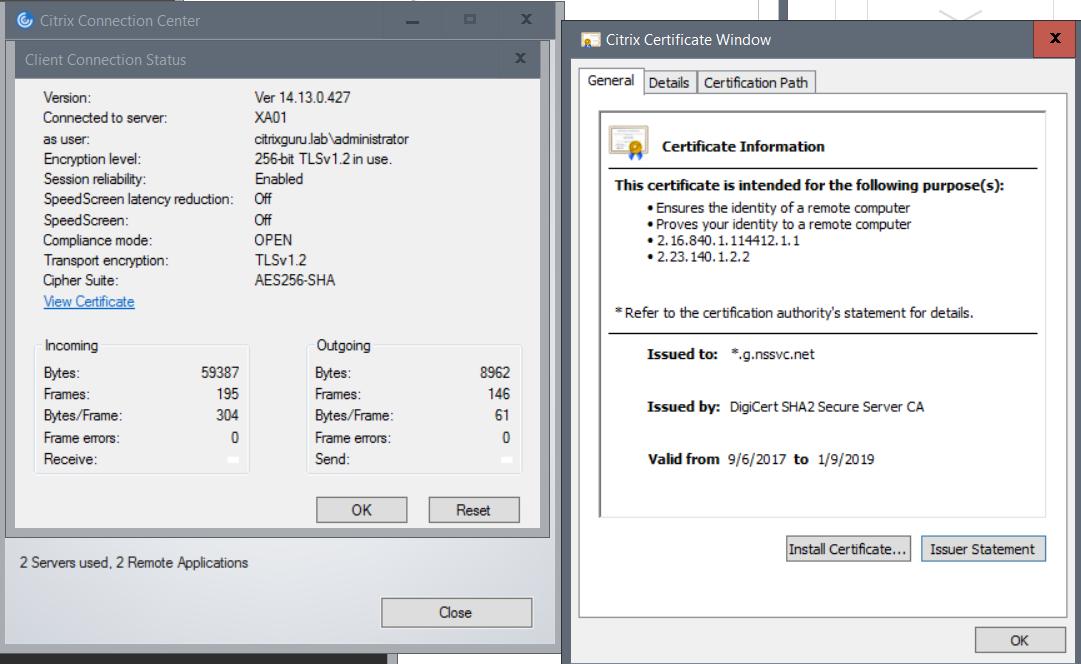 Connected using Citrix NetScaler Gateway in Citrix Cloud