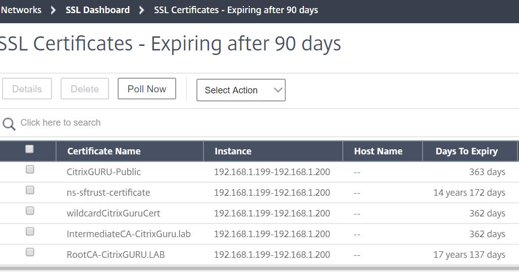 Citrix Management and Analytics Service - Netscaler certificates dashboard