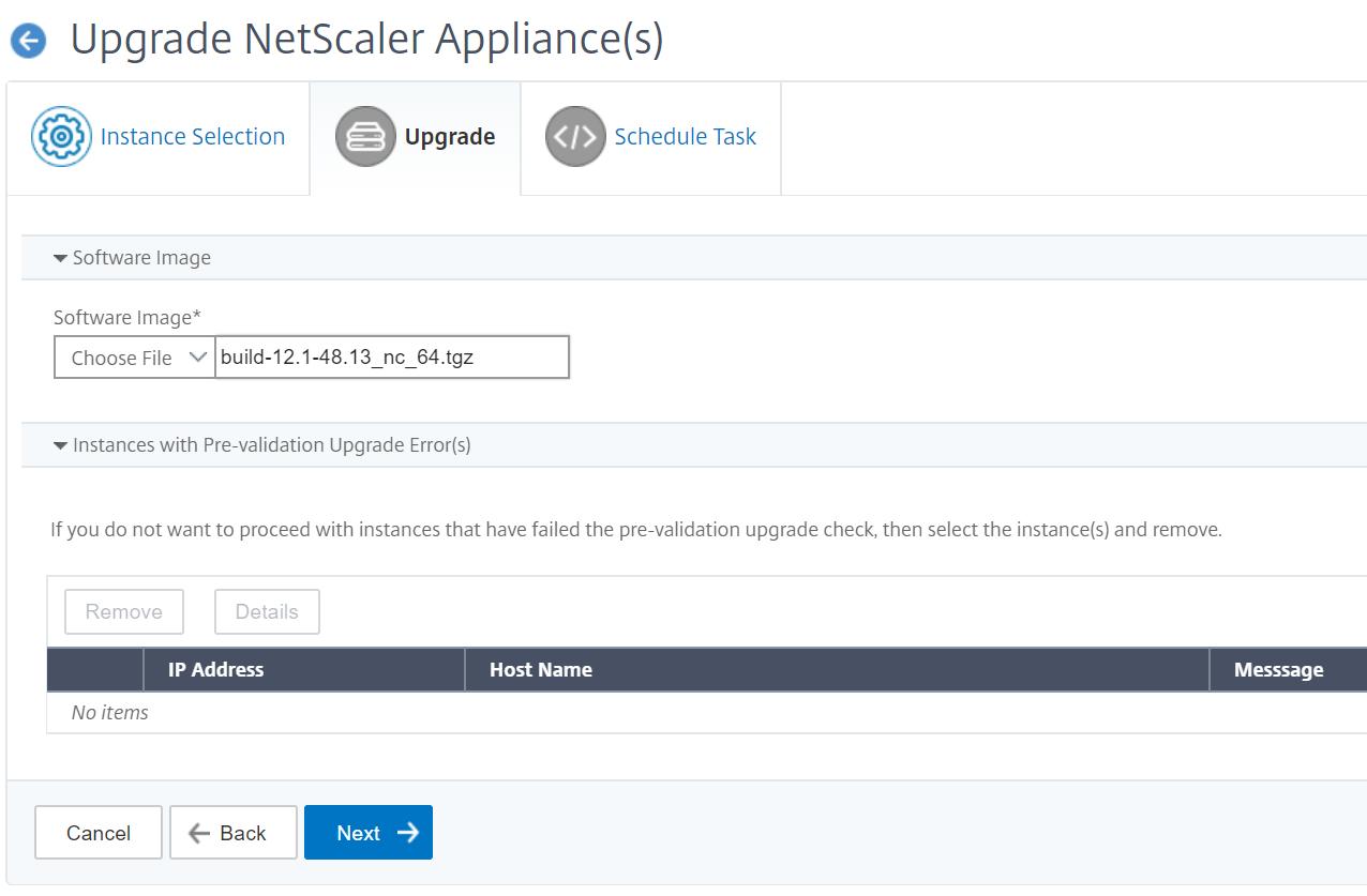 Maintenance jobs - Select new NetScaler firmware