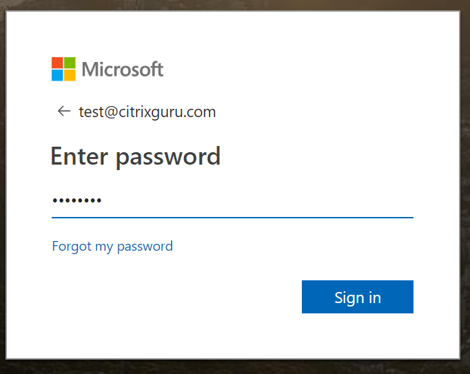 Enter Azure AD credentials