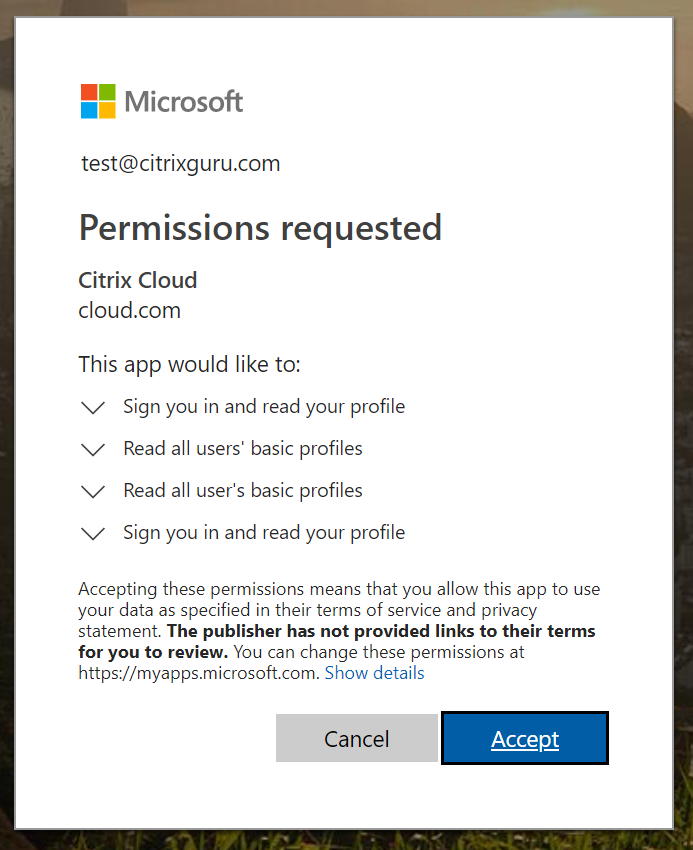 Accept permissions