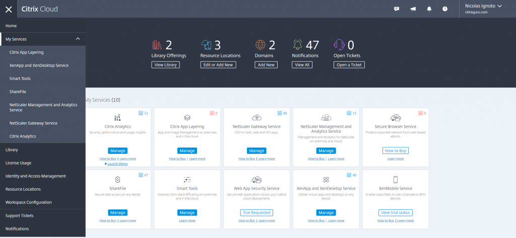 Citrix Cloud UI