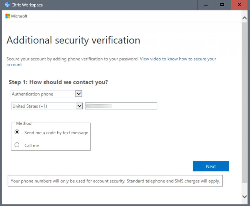 Citrix Workspace - MFA security verification
