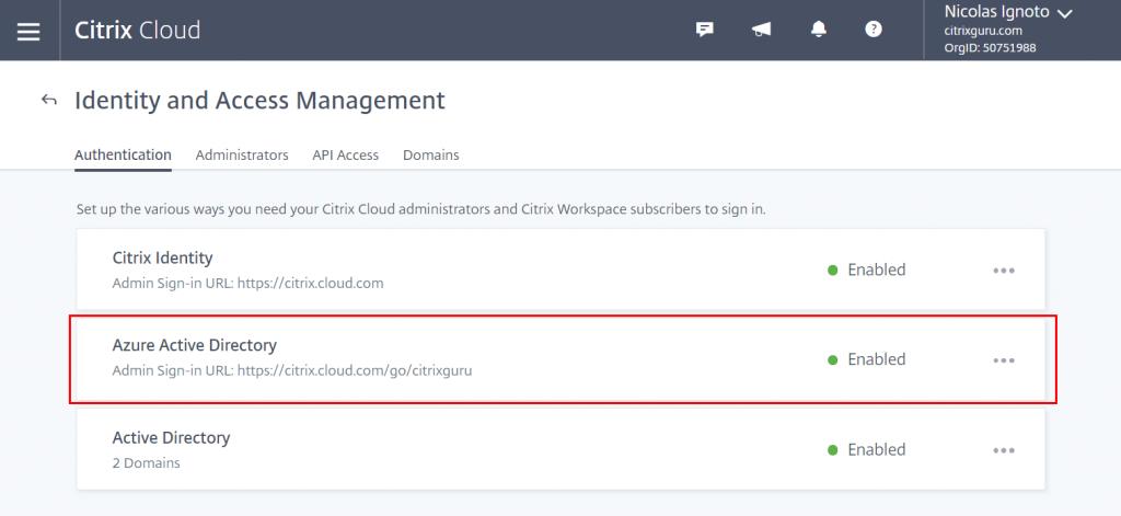 Citrix Cloud - Azure Active Directory