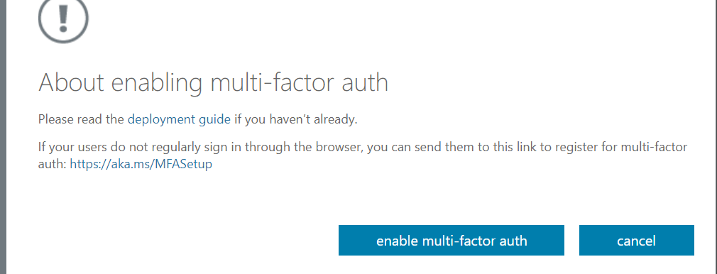 Enable MFA for a user in Azure - Confirm