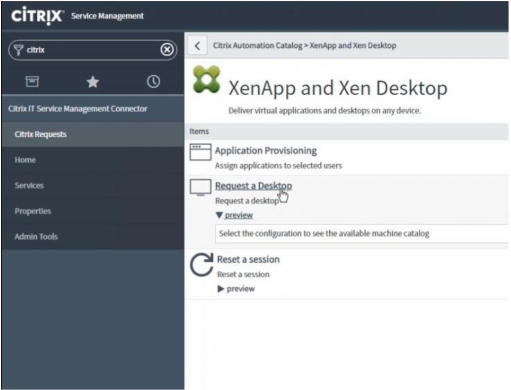 Citrix Workspace support of ServiceNow Self-service