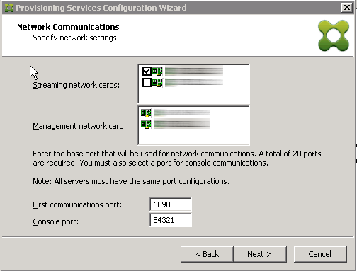 Network cards configuration