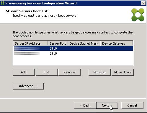 Stream Servers Boot list
