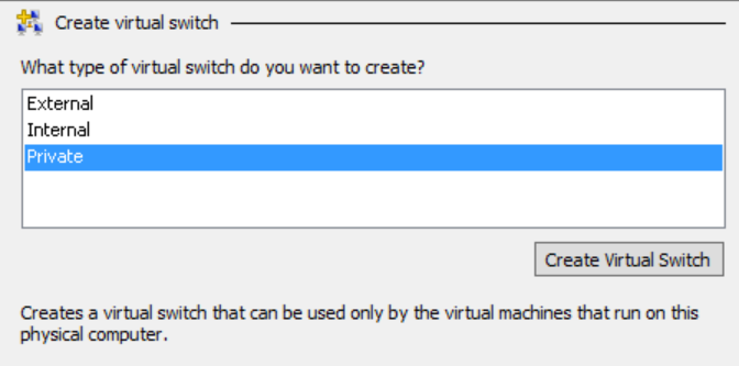 Private virtual switch