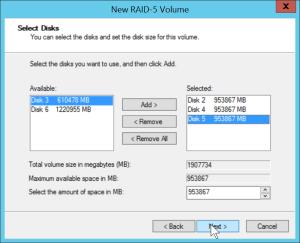 RAID-5 - Select disks