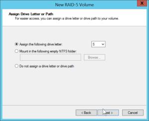 RAID-5 - Assign a letter