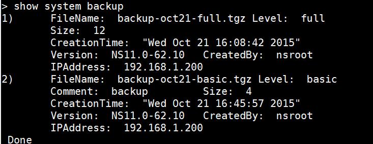 List backups