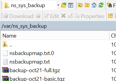 Backup file location