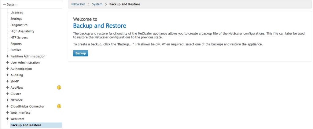NetScaler Backup 1