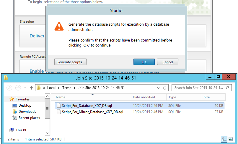 Select Generate scripts to create the SQL update file