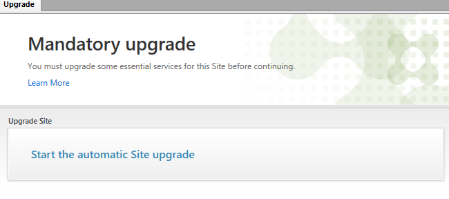 Mandatory upgrade