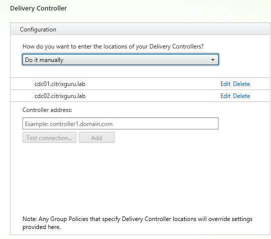 Configure the two delivery controllers